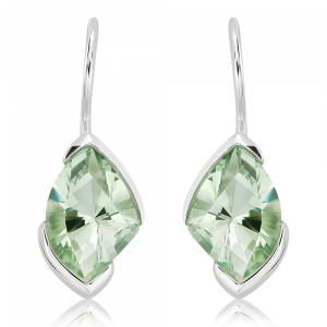 Laser Faceted Green Amethyst Earrings