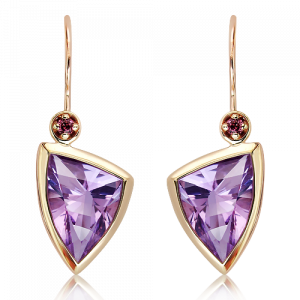 Laser Faceted Amethyst Gold Earrings