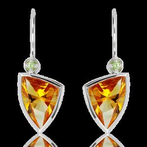 Laser Faceted Citrine Green Amethyst Earrings