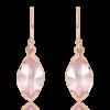 Laser Cut Rose Quartz Earrings in Rose Gold