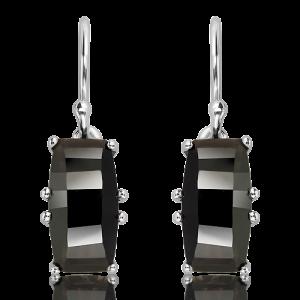Fancy Cut Black Quartz Silver Earrings