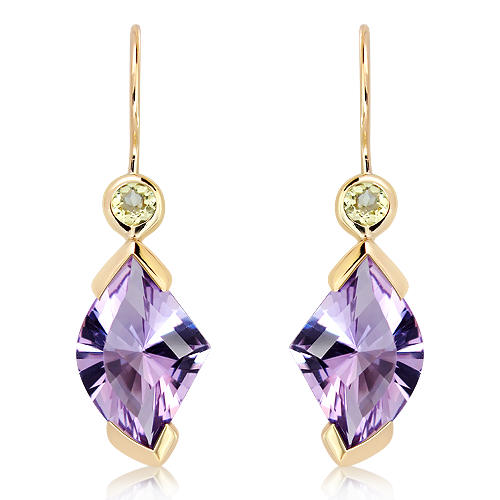 Green and Purple Amethyst Gold Earrings