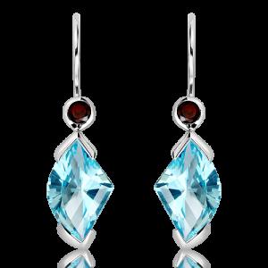 Blue Topaz Laser faceted Earrings