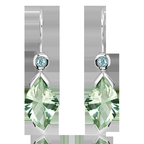 Green Amethyst and Blue Topaz Silver Earrings