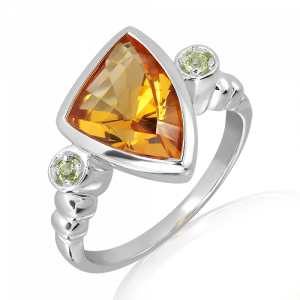 Special Cut Citrine and Green Amethyst Silver Ring
