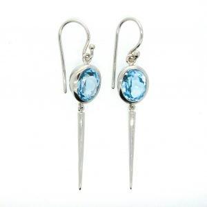 Blue Topaz Earrings Handmade In Sterling Silver