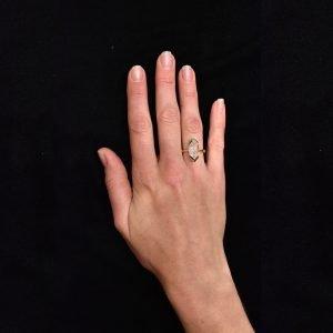 Handmade Gold and Herkimer Diamond Ring