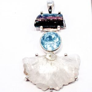 Sun Quartz, Blue Topaz and Roman Glass