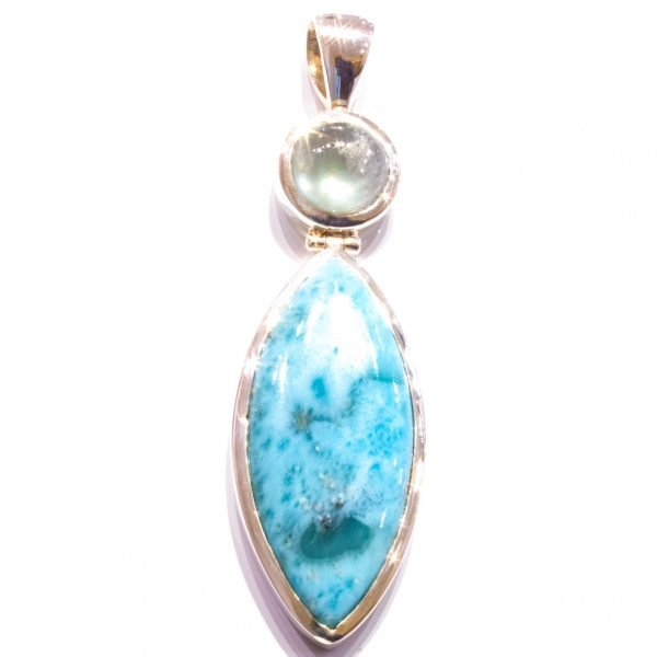 Handmade Sterling Silver Pendant with Larimar and Prehnite