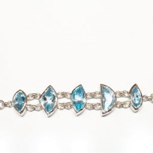 Sterling Silver and Blue Topaz Handmade Bracelet