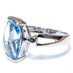 Bright Blue Topaz Sterling Silver Ring
