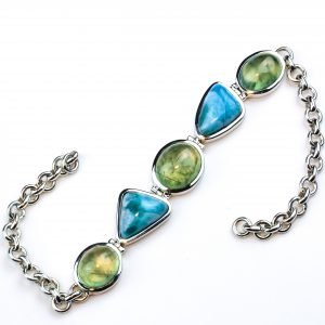 Handmade Sterling Silver Bracelet with Larimar and Prehnite Stones
