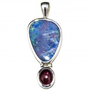 Australian Opal and Tourmaline Pendant