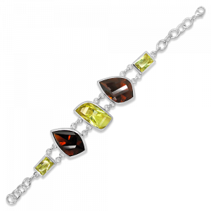 Handmade Sterling Silver Rhodium Plated Bracelet with Laser Cut Cognac Quartz and Lemon Quartz