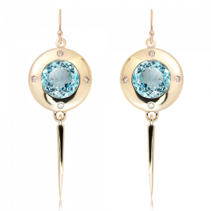 Blue Topaz and Diamonds Handmade Earrings