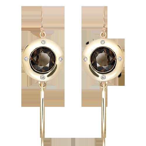 Handmade Gold Earrings with Smoky Quartz and Diamonds