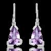 Amethyst Laser Faceted Silver Earrings