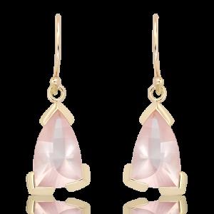 Laser Cut Rose Quartz Earrings in Gold