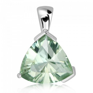 Laser Cut Green Amethyst Silver Pendant