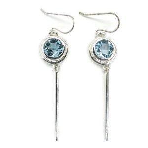 Handmade Sterling Silver Dangle Earrings with Blue Topaz