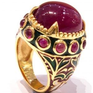 Enamel Italian Ring with Low Grade Ruby Italian Made
