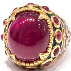 Italian Enamel Ring With Ruby