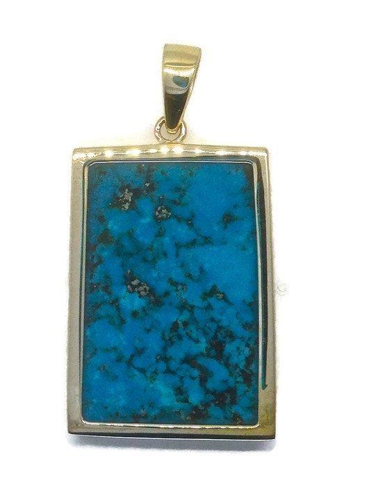Handmade Gold Pendant with Natural Arizona Turquoise