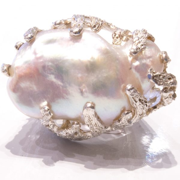 Baroque Deep Sea Pearl Ring set in Sterling Silver