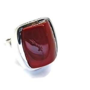 Red Coral Handmade Silver Ring