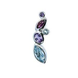 Blue Topaz, Amethyst & Garnets Sterling Silver Pendant