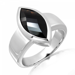 Faceted Black Onyx Silver Ring