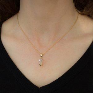 Handmade Herkimer Diamond Pendant in Gold