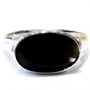 Fancy Cut Black Quartz Silver Ring
