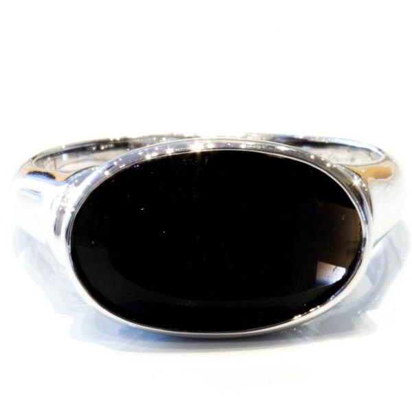 Fancy Cut Black Quartz Silver Ring