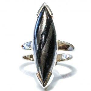 Handmade Banded Hematite Silver Ring