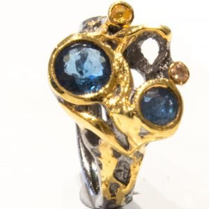 Kyanite and Sapphire Handmade Ring