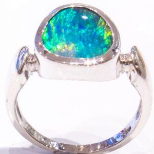 Australian Opal in Handmade Silver Ring