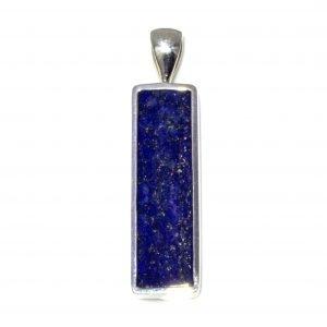 Rectangular Lapis Lazuli Silver Pendant