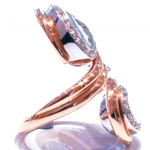 Rose and White Gold and Diamond Ring