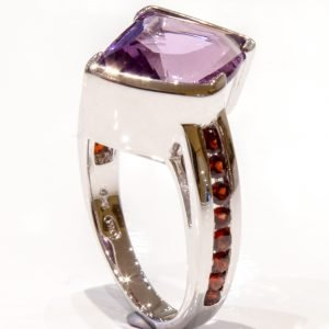 Amethyst Laser Faceted Silver Ring 2