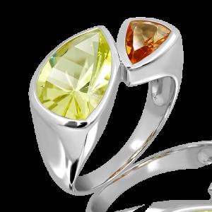 Lemon Quartz and Citrine Ring