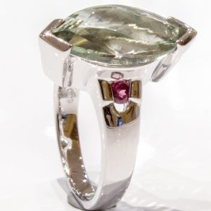 Laser Faceted Green Amethyst Silver Ring