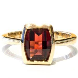 Garnet and Yellow Gold Handmade Ring