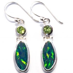 Australian Opal and Peridot Silver Earrings