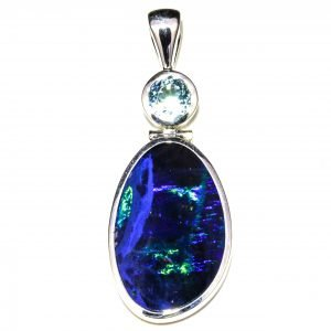 Large Black Opal and Blue Topaz Pendant
