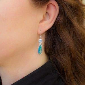 Australian Opal and Blue Topaz Silver Earrings