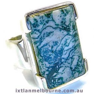 Moss Agate Handmade Silver Ring