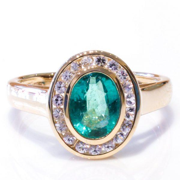 Natural Emeralds and White Sapphires Handmade Ring