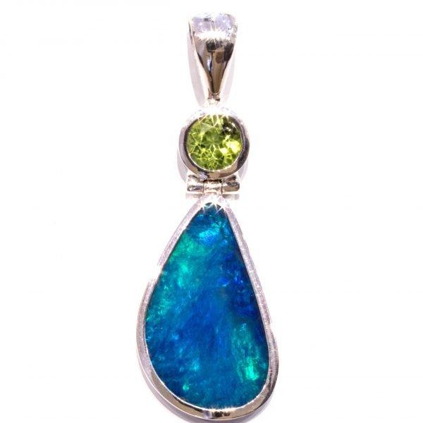 Blue Green Opal with Peridot Pendant