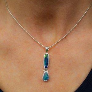 Double Australian Opal Pendant